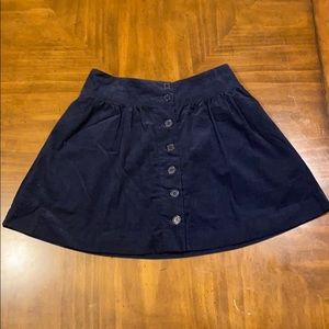 Navy corduroy button front skirt